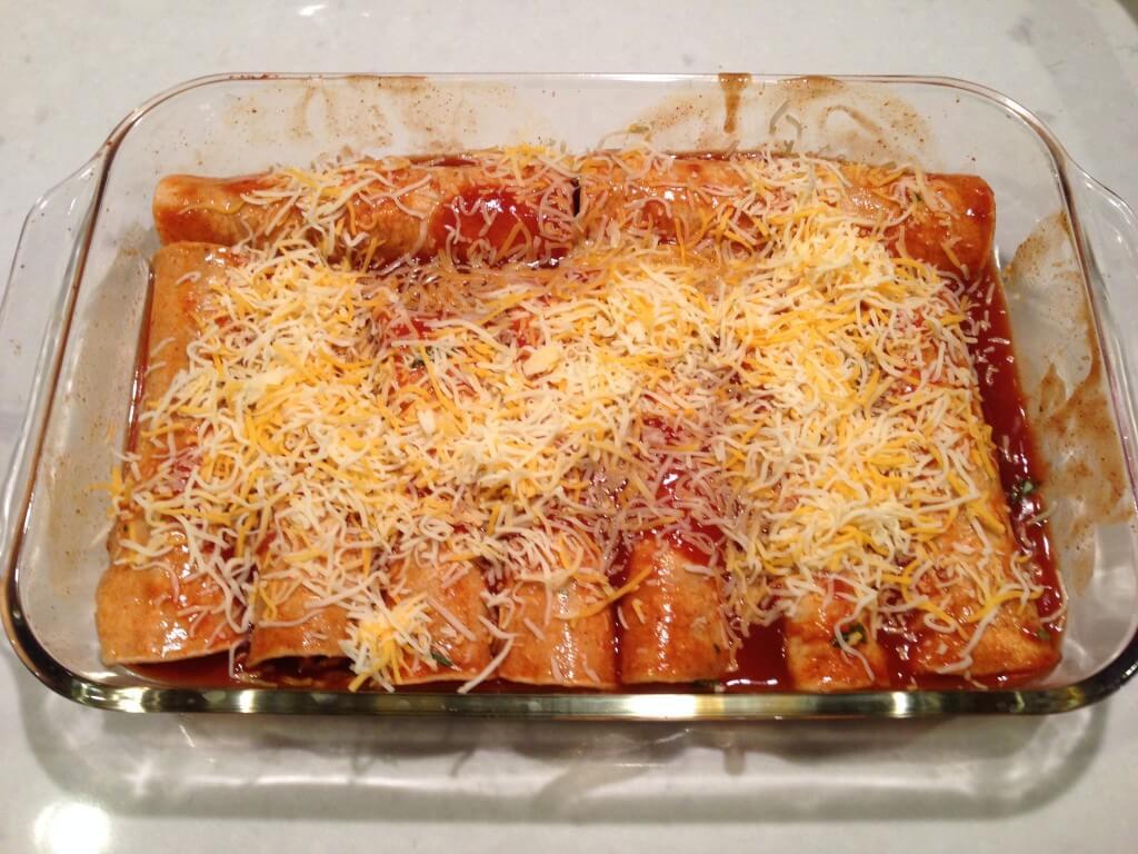 Prepared enchiladas before baking.